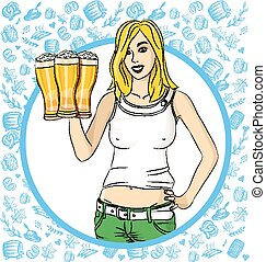 vettore, oktoberfest, birra, donna, vetro