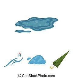vettore, ombrello, ground., set, nord, icone, pozzanghera, vento, web., stile, collezione, cartone animato, tempo, illustrazione, nuvola, simbolo, casato