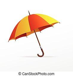 vettore, ombrello, isolato, giallo, rosso