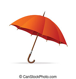 vettore, ombrello, isolato, rosso