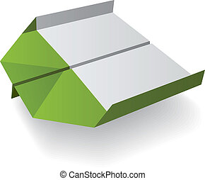 vettore, origami, aeroplano, carta