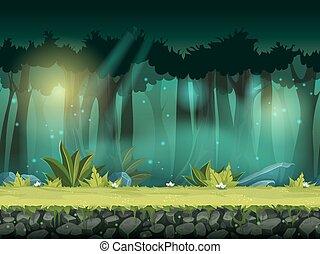 vettore, orizzontale, seamless, illustrazione, di, foresta, in, uno, magico, foschia