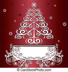 vettore, ornament., albero, natale, illustrazione