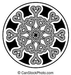 vettore, ornament., nero, illustrazione
