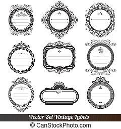 vettore, ornamentale, cornice, etichette, set