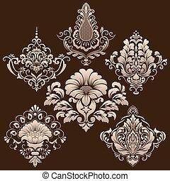vettore, ornamentale, set, elements., damasco