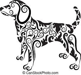 vettore, ornamento, cane