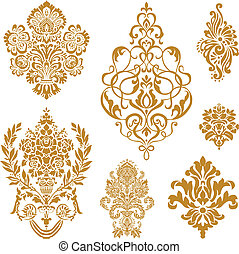 vettore, oro, damasco, ornamento, set