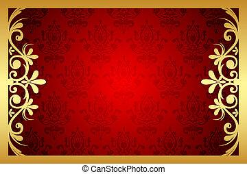 vettore, oro, e, rosso, floreale, cornice