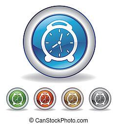 vettore, orologio, icona