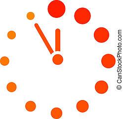 vettore, orologio, rosso, icona