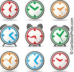 vettore, orologio, simboli