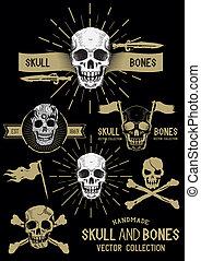 vettore, ossa, set, pirata, cranio