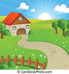 vettore, paesaggio, con, campi, e, colline