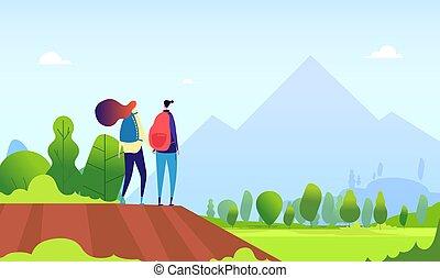 vettore, paesaggio., concetto, andando gita, natura, escursione, escursionisti, coppia., giovane, estate, femmina, fuori, turisti, cartone animato, uomo