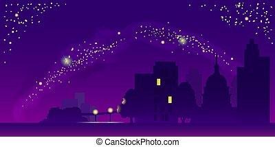 vettore, paesaggio, illustrazione, notte