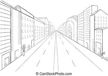 vettore, paesaggio urbano, illustration., costruzioni, moderno, albero, strada, perspective., monocromatico, città, grattacieli