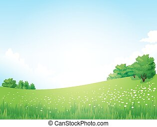 vettore, paesaggio verde, con, albero