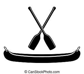vettore, pagaia, canoa