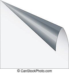 vettore, pagina, angolo, con, metallico, difensore