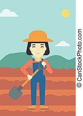 vettore, pala, illustration., femmina, contadino