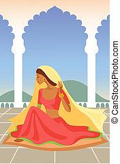 vettore, palazzo, indiano, donna, illustrazione