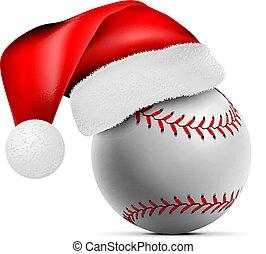 vettore, palla, illustrazione, babbo natale, hat., baseball