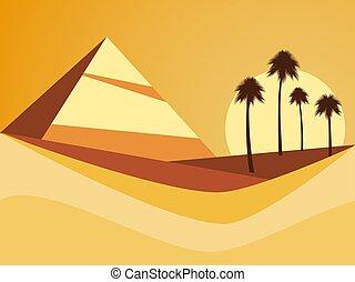 vettore, palma, piramide, style., deserto, dune, appartamento, paesaggio, illustrazione, alberi.