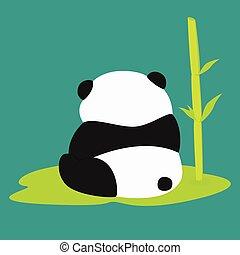vettore, panda, seduta