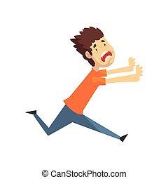 vettore, panicked, spaventato, giovane, gridare, correndo, timoroso, illustrazione, fondo, emotivo, tipo, uomo, bianco, qualcosa