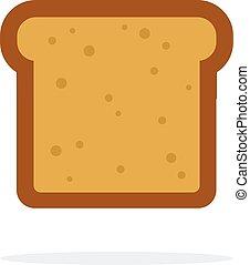 vettore, panino pane, appartamento, pezzo, isolato