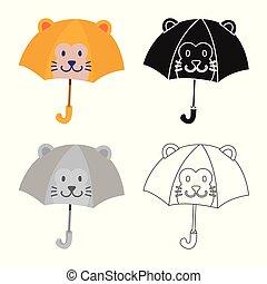 vettore, parasole, casato, logo., bambini, colorito, collezione, illustrazione, illustration.