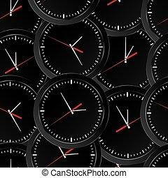 vettore, parete, seamless, clocks, sfondo nero