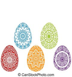 vettore, pasqua, colorito, uova
