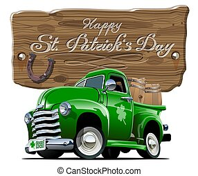 vettore, patrick's, retro, cartone animato, birra, pick-up, santo