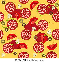 vettore, pattern., seamless, illustrazione, pizza