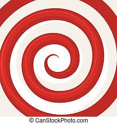 vettore, pattern., spirale, ipnosi, ottico, illusion., rosso