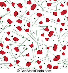 vettore, patterns., seamless, poppies.