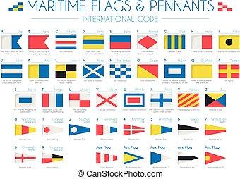 vettore, pennants, bandiere, illustrazione, marittimo, internazionale, codice