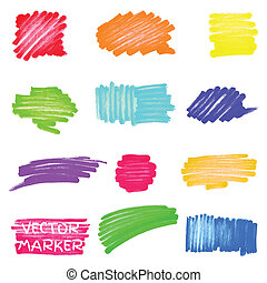 vettore, pennarello, set, colorato, macchie