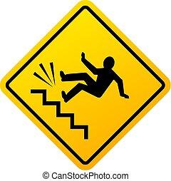 vettore, pericolo, cadere, segno
