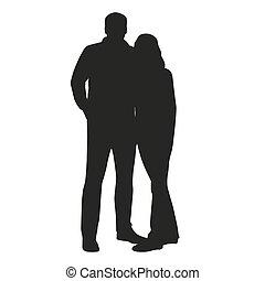 vettore, persone, abbracciare, coppia, silhouette.