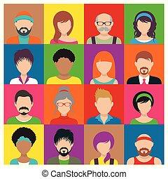 vettore, persone, avatar, icone