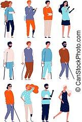 vettore, persone, crutches, sedie rotelle, persone, invalido, characters., malsano, illustrazioni