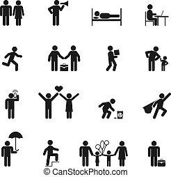 vettore, persone, icone