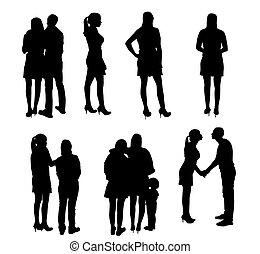 vettore, persone., set, silhouette, illustration.