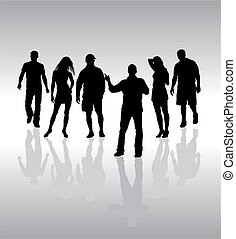 vettore, persone, silhouette, amici