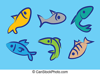 vettore, pesci, sei, illustrazione, colorito
