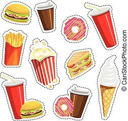 vettore, pezze, set, tesserati magnetici, illustration., colorito, icone, cibo, isolato, digiuno, piolini, fondo., moda, pezza, 80s-90s, quirky., adesivi, bianco, style., cartone animato