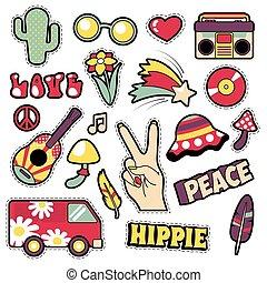 vettore, pezze, tesserati magnetici, furgone,  Hippie, fungo, comico,  -,  pop, chitarra, moda, illustrazione, arte, penna, adesivi, stile